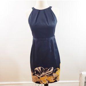 Tahari   Blue sheath dress with flowers and belt